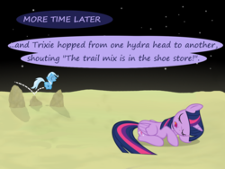 Size: 1200x900 | Tagged: age regression, alicorn, artist:evil-dec0y, comic:trixie vs., comic:trixie vs. the moon, female, filly, filly trixie, moon, pony, safe, skipping, sleeping, trixie, twilight sparkle, twilight sparkle (alicorn), younger