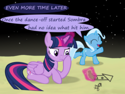 Size: 1200x900 | Tagged: age regression, alicorn, artist:evil-dec0y, comic:trixie vs., comic:trixie vs. the moon, drawing, female, filly, filly trixie, magic, moon, pony, safe, telekinesis, trixie, twilight sparkle, twilight sparkle (alicorn), younger