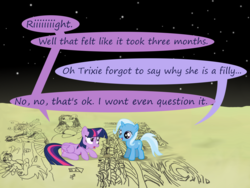Size: 1200x900 | Tagged: age regression, alicorn, applejack, artist:evil-dec0y, comic:trixie vs., comic:trixie vs. the moon, derpy hooves, drawing, female, filly, filly trixie, fine art parody, mona lisa, moon, pony, rarity, safe, the birth of venus, trixie, twilight sparkle, twilight sparkle (alicorn), wet, wet mane, wet mane rarity, younger