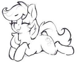 Size: 802x644 | Tagged: safe, artist:dimfann, applejack, earth pony, pony, cute, eyes closed, female, jackabetes, mare, monochrome, prone, silly, silly pony, solo, tongue out, who's a silly pony