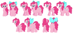 Size: 1920x863 | Tagged: 3/4 view, angles, artist:aleximusprime, belly, big belly, big butts, bow, butt, chonk, chubby, cute, fat, front view, pinkie pie, plump, ponka, profile view, rear view, reference sheet, safe, vector
