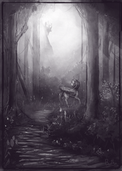 Size: 1980x2769 | Tagged: alicorn, artist:bantha, canterlot, crepuscular rays, female, forest, grass, grayscale, mare, monochrome, nature, pony, raised hoof, safe, scenery, solo, trail, tree, twilight sparkle, twilight sparkle (alicorn), walking