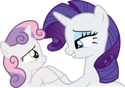 Size: 5999x4228 | Tagged: absurd res, .ai available, artist:cloudyglow, bust, crusaders of the lost mark, duo, female, hoof hold, lidded eyes, pony, rarity, safe, sisters, sweetie belle, unicorn, vector