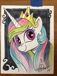 Size: 1536x2048 | Tagged: safe, artist:andypriceart, princess celestia, pony, bust, female, portrait, smiling, solo