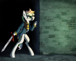 Size: 3403x2755 | Tagged: arm hooves, artist:helmie-d, clothes, eye clipping through hair, high res, oc, oc only, pony, safe, semi-anthro, solo, sword, wall, weapon