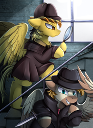 Size: 2550x3509 | Tagged: artist:pridark, clothes, commission, dagger, detective, hat, high res, magnifying glass, oc, oc:electuroo, oc only, pegasus, pony, safe, spy, unnamed oc, weapon