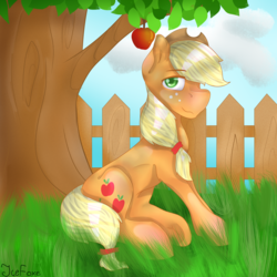 Size: 3000x3000 | Tagged: apple, applejack, apple tree, artist:icefoxe, cutie mark, earth pony, female, fence, grass, looking at you, mare, obligatory apple, pony, safe, sidemouth, sitting, smiling, solo, tree