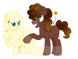 Size: 600x456 | Tagged: artist:thesmall-artist, earth pony, female, male, mare, oc, oc:chocolate mousse, oc only, oc:vanilla bean, offspring, parent:cheese sandwich, parent:pinkie pie, parents:cheesepie, pony, safe, simple background, stallion, transparent background