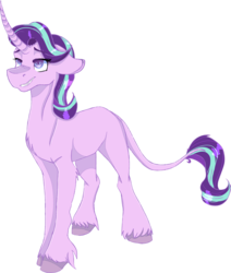 Size: 1749x2064 | Tagged: artist:icefoxe, chest fluff, classical unicorn, cloven hooves, curved horn, female, floppy ears, horn, leonine tail, lidded eyes, mare, missing cutie mark, pony, safe, sidemouth, simple background, smiling, smirk, solo, starlight glimmer, transparent background, unicorn, unshorn fetlocks