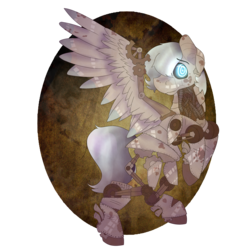 Size: 2000x2000 | Tagged: artist:icefoxe, dirty, looking at you, oc, oc only, one wing out, pony, rearing, robot, robot pony, safe, simple background, solo, steampunk, swirly eyes, transparent background