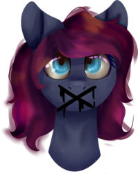 Size: 1788x2244 | Tagged: artist:icefoxe, bust, crossed out, female, looking up, mare, no mouth, oc, oc only, pony, safe, simple background, solo, transparent background