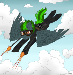Size: 1024x1052 | Tagged: safe, artist:sk-ree, oc, pegasus, pony, cloud, flying, iron cross, male, solo, stallion, weapon
