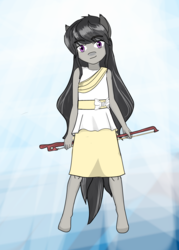 Size: 2500x3500 | Tagged: anthro, artist:stardust-pony, bow, bow (instrument), clothes, cute, dress, explicit source, octavia melody, safe, skirt, solo, unguligrade anthro, younger