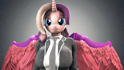 Size: 1920x1080 | Tagged: alicorn, alicorn oc, anthro, clothes, female, oc, oc:shimmering spectacle, safe, solo, suit, uniform