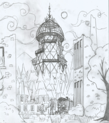 Size: 1696x1912 | Tagged: safe, artist:newman134, apple bloom, scootaloo, sweetie belle, human, equestria girls, canterlot city, forest, humanized, monochrome, original location, ruins, steampunk, tesla, tesla coil, urban exploration, wardenclyffe tower