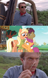 Size: 1904x3112 | Tagged: safe, screencap, mane allgood, scootaloo, snap shutter, earth pony, human, pegasus, pony, the last crusade, alan grant, cartoonito logo, clothes, crossover, cutie mark, family, female, filly, foal, gift from god, hat, irl, irl human, it's happening, jurassic park, male, man, mare, meme, photo, sam neill, shirt, stallion, the cmc's cutie marks