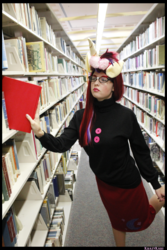 Size: 3456x5184 | Tagged: safe, artist:krazykari, moondancer, human, book, bookshelf, clothes, cosplay, costume, irl, irl human, library, photo, solo