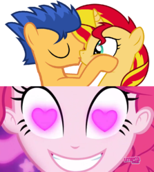 Size: 852x955 | Tagged: artist:mlpfan3991, coinky-dink world, eqg summertime shorts, equestria girls, female, flashimmer, flash sentry, male, pinkie pie, pinkie's eyes, safe, shipping, straight, sunset shimmer