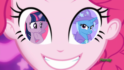 Size: 1280x720 | Tagged: alicorn, coinky-dink world, discovery family logo, edit, edited screencap, eqg summertime shorts, equestria girls, female, lesbian, pinkie pie, pinkie's eyes, safe, screencap, shipping, trixie, twilight sparkle, twilight sparkle (alicorn), twixie