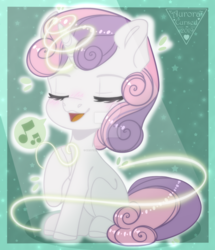 Size: 1280x1488 | Tagged: artist:nastyakutuzova80, cute, deviantart watermark, diasweetes, eyes closed, female, filly, magic, music notes, obtrusive watermark, open mouth, pony, safe, singing, sitting, solo, speech bubble, sweetie belle, unicorn, watermark