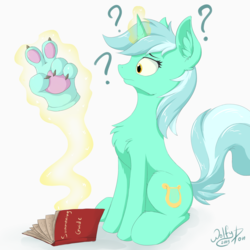 Size: 1500x1500 | Tagged: artist:wolfypon, book, glowing horn, hand, horn, lyra heartstrings, magic, paws, peace sign, question mark, safe, solo, summoning, unicorn