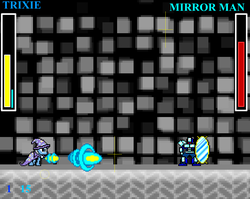 Size: 1076x857 | Tagged: arm cannon, game screencap, health bars, megaman, megapony, mirror, mirror man, pony, robot, safe, screencap, trixie, video game
