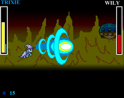 Size: 1076x854 | Tagged: dr. wily, fire, flying saucer, game screencap, megaman, megapony, safe, screencap, trixie, video game