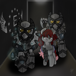 Size: 2000x2000   Tagged: safe, artist:devorierdeos, oc, oc only, cyborg, pegasus, pony, fallout equestria, armor, cyber legs, enclave armor, fanfic, fanfic art, female, grand pegasus enclave, high res, hooves, mare, power armor, spread wings, weapon, wings