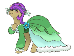 Size: 1280x974 | Tagged: artist:night-iris, blushing, clothes, cute, dress, female, flower, lidded eyes, ponified, pony, pony yona, safe, she's all yak, simple background, solo, species swap, spoiler:s09e07, white background, wig, yona, yonadorable