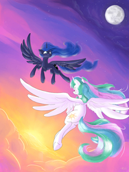 Size: 3750x5000 | Tagged: safe, artist:rocket-lawnchair, artist:sonicontinuum, princess celestia, princess luna, alicorn, pony, cloud, duo, evening, featured image, female, flying, full moon, high res, mare, missing accessory, moon, night, royal sisters, sisters, sky, smiling, spread wings, stars, sun, underhoof, wings