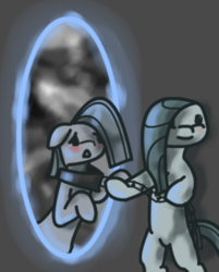 Size: 250x311 | Tagged: safe, artist:lonelycross, marble pie, pony, chains, collar, duality, lonely inky, portal, pulling, solo