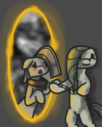 Size: 250x311 | Tagged: safe, alternate version, artist:lonelycross, marble pie, pony, chains, collar, duality, lonely inky, portal, pulling, solo