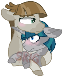 Size: 258x311 | Tagged: artist:superrosey16, crack shipping, gay, male, mudbriar, pony, safe, shipping, simple background, stygian, styginthemud, transparent background