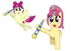 Size: 1008x710 | Tagged: safe, artist:fskindness, majorette, sour sweet, sweeten sour, pony, equestria girls, baton, cheerleader, equestria girls ponified, female, flying, freckles, ponified, sisters, smiling at you, sweetly and sourly, twin sisters