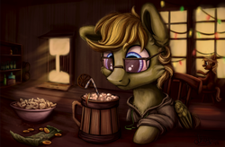 Size: 2765x1819 | Tagged: appleloosa, artist:sharimapic, cider, commission, earth pony, glasses, oc, pony, pub, safe, sunshine, western, ych result, your character here