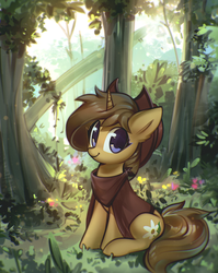 Size: 1200x1508 | Tagged: artist:mirroredsea, clothes, cute, female, forest, hat, looking at you, mare, oc, ocbetes, oc:buckwheat, oc only, pony, safe, scenery, sitting, smiling, solo, tree, unicorn