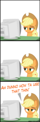 Size: 2000x6000 | Tagged: applejack, applejack is not amused, applejack vs computer, artist:mrkat7214, bored, comic, crt, dell, earth pony, looking at you, monitor, pony, safe, solo, unamused