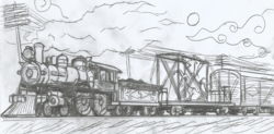 Size: 2188x1076 | Tagged: 1900s, artist:newman134, early 20th century, equestria girls, fanfic idea, hand drawing, human, human world, monochrome, no pony, pencil drawing, safe, scenery, steam locomotive, telegraph poles, traditional art, train, vehicle, wondercolts statue