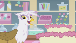 Size: 1366x768 | Tagged: cake, food, gilda, griffon the brush off, happy, safe, screencap, smiling, solo, when she smiles