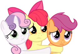 Size: 2465x1726   Tagged: safe, edit, edited screencap, editor:lonely fanboy48, screencap, apple bloom, scootaloo, sweetie belle, earth pony, pegasus, pony, unicorn, the last crusade, spoiler:s09e12, background removed, cute, cutie mark crusaders, female, filly, foal, puppy dog eyes, sad, simple background, trio