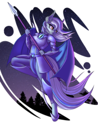 Size: 2540x3200 | Tagged: anthro, armor, artist:pony-way, bat pony, bat pony oc, clothes, commission, female, high res, night, oc, oc only, safe, solo, spear, stars, tree, unguligrade anthro, weapon