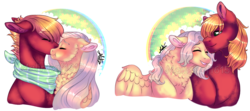 Size: 1239x551 | Tagged: safe, artist:malinraf1615, big macintosh, fluttershy, pony, bandana, blushing, buttermac, cheek fluff, chest feathers, eyes closed, female, fluttermac, flutterreina, gay, half r63 shipping, lesbian, male, neck fluff, obtrusive watermark, rule 63, shipping, signature, simple background, transparent background, watermark