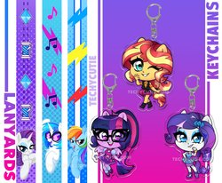 Size: 2048x1686   Tagged: safe, artist:techycutie, dj pon-3, rainbow dash, rarity, sci-twi, sunset shimmer, twilight sparkle, vinyl scratch, alicorn, pony, unicorn, equestria girls, equestria girls series, chibi, cute, geode of empathy, geode of shielding, glasses, keychain, lanyard, magical geodes, music notes, ponied up, raribetes, scitwilicorn, shimmerbetes, thread, twiabetes