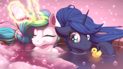 Size: 3840x2160 | Tagged: alicorn, artist:ohemo, bath, bathing, bathing together, bubble, bubble bath, cute, cutelestia, daaaaaaaaaaaw, duo, ear fluff, eyes closed, female, frog (hoof), human shoulders, lunabetes, magic, mare, pony, princess celestia, princess luna, royal sisters, rubber duck, safe, shampoo, siblings, sisters, smiling, soap bubble, telekinesis, underhoof