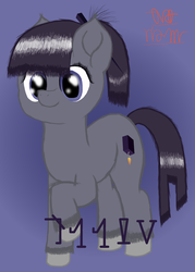 Size: 2500x3500 | Tagged: safe, artist:onil innarin, oc, oc only, oc:orrin, pony, constructed language, cute, female, gradient background, hairpin, mare, ponytail, signature, smiling, unshorn fetlocks
