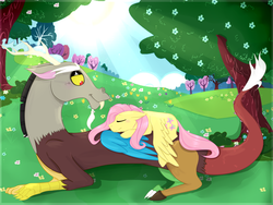 Size: 4000x3000 | Tagged: safe, artist:bennythebunny95, discord, fluttershy, draconequus, pegasus, pony, blushing, discoshy, female, flower, lidded eyes, male, mare, meadow, prone, shipping, sleeping, smiling, spread wings, straight, tree, wings