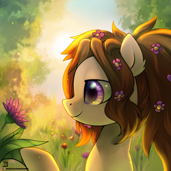 Size: 3000x3000 | Tagged: safe, artist:jedayskayvoker, oc, oc only, pony, female, flower, flower in hair, forest, mare, smiling, solo