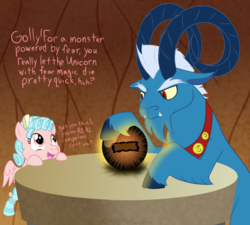 Size: 1000x900 | Tagged: safe, artist:enigmadoodles, cozy glow, grogar, pegasus, pony, the beginning of the end, spoiler:s09e01, spoiler:s09e02, bow, cloven hooves, crystal ball, duo, evil lair, female, filly, grogar's lair, grogar's orb, hair bow, implied death, implied king sombra, lair, looking at each other, male, open mouth, ram, speech