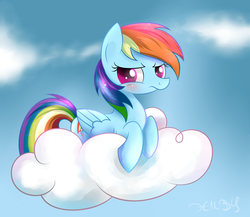 Size: 3000x2600 | Tagged: safe, artist:heavymetalbronyyeah, rainbow dash, pegasus, pony, backwards cutie mark, blushing, cloud, cloudy, cute, dashabetes, female, high res, looking at you, lying down, on a cloud, solo