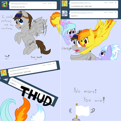 Size: 2564x2564 | Tagged: artist:phoenixswift, ask, ask fuselight, cloudchaser, flitter, hug, male, oc, oc:fuselight, pegasus, pony, safe, spitfire, stallion, tumblr, white flag